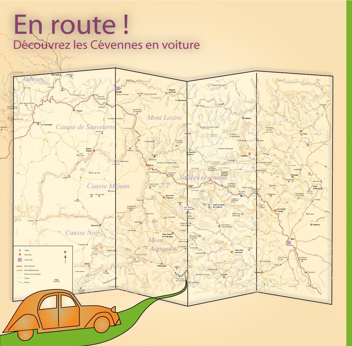 Route de découverte en Cévennes accessible en voiture