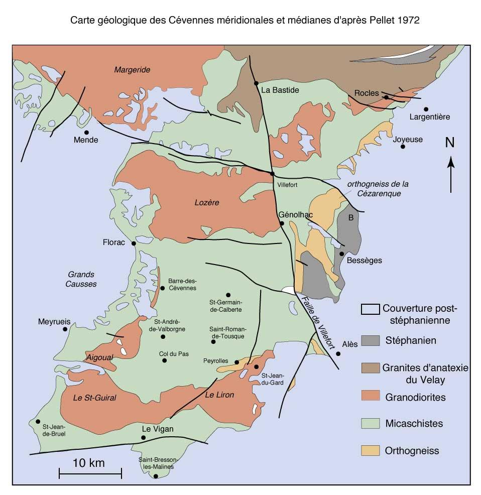 Carte géologique des Cévennes d'après Pelet, 1972