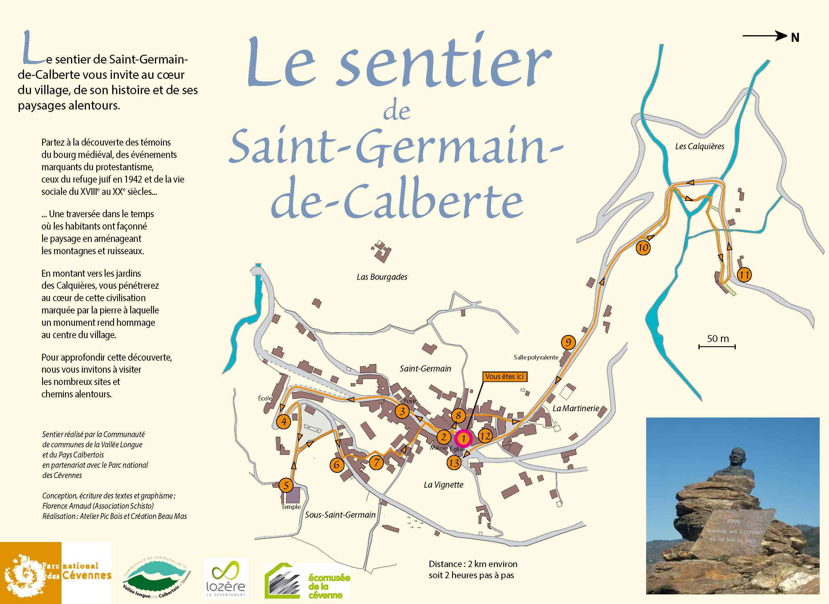 Tracé et présentation du sentier de Saint-Germain-de-Calberte