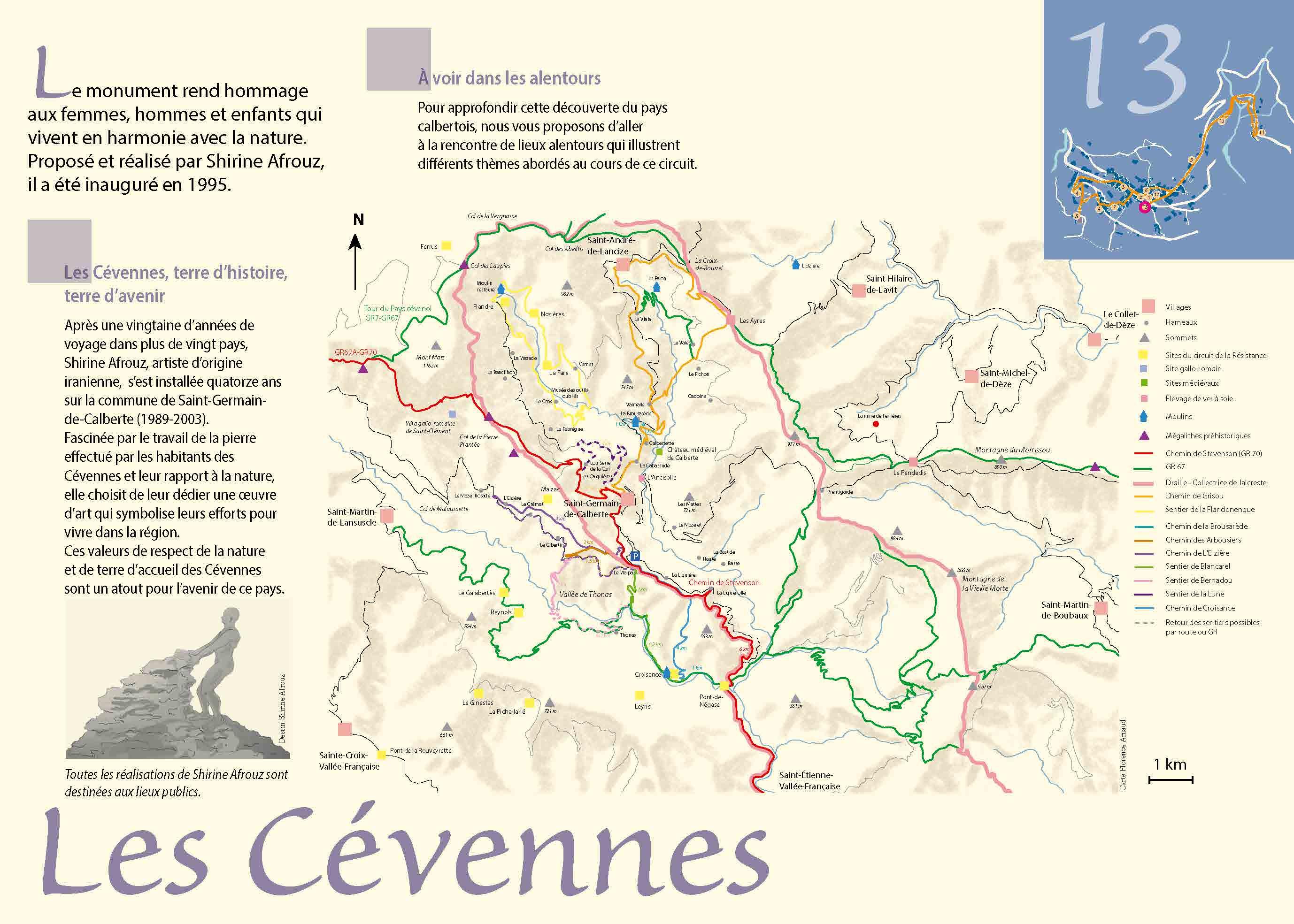 Carte des chemins sur Saint-Germain-de-Calberte et ses alentours