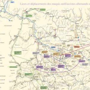 Carte des lieux et des déplacements d'antifascistes allemands en Cévennes