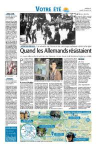 Cévennes - Quand les Allemands résistaient - Midi Libre du 25/08/2018