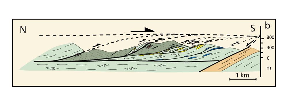 Coupe géologique dans les schistes des Cévennes.