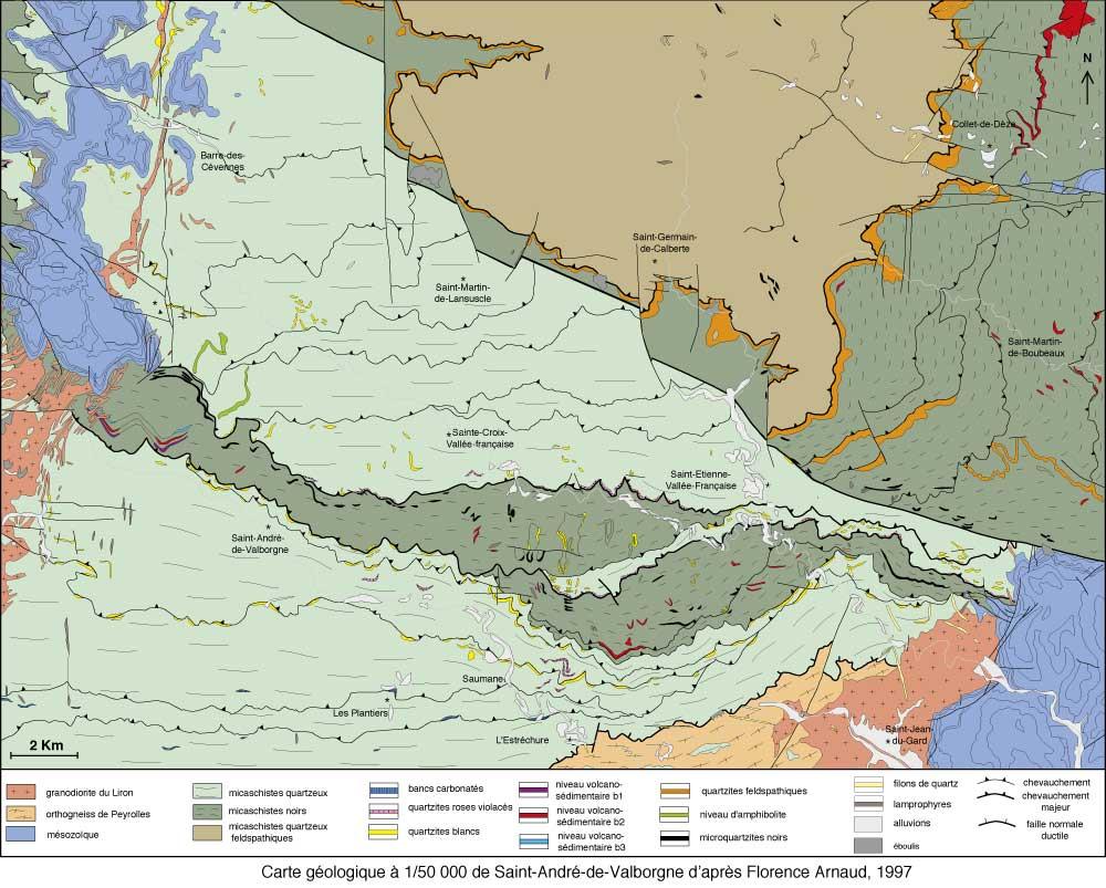 Carte géologique des Cévennes schisteuses par Florence Arnaud, 1997