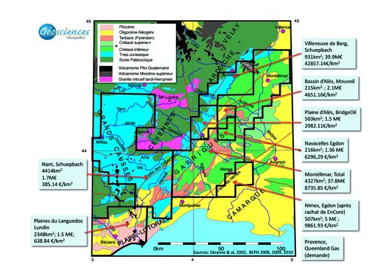 Carte des permis d'exploration du gaz de schiste superposée à la carte géologique.