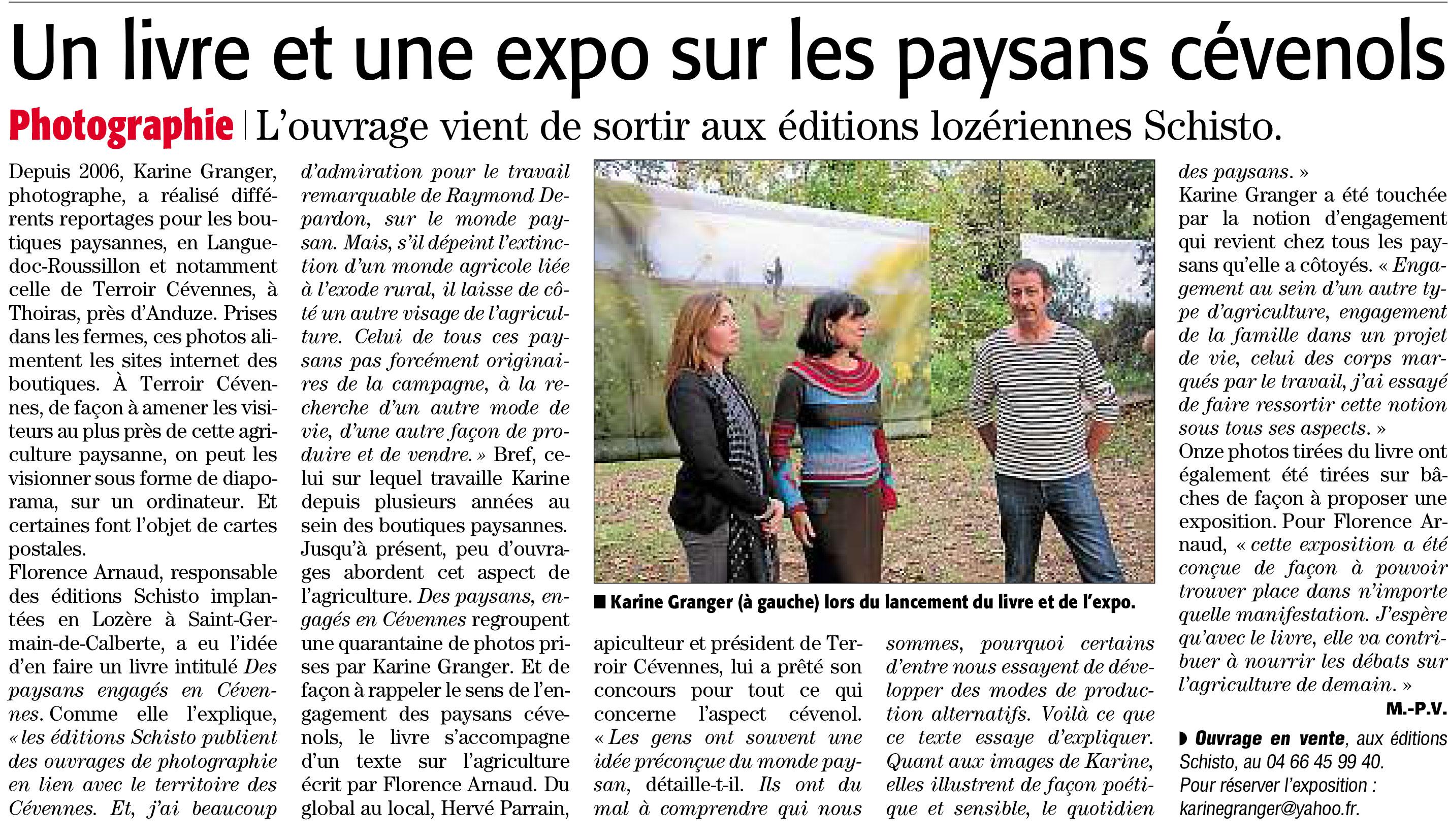 Article Midi Libre sur les paysans engagés en Cévennes.
