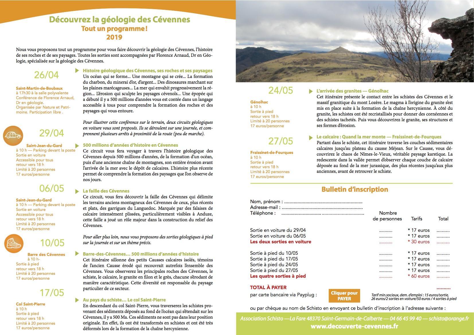 Découvrez la géologie des Cévennes - Programme 2019