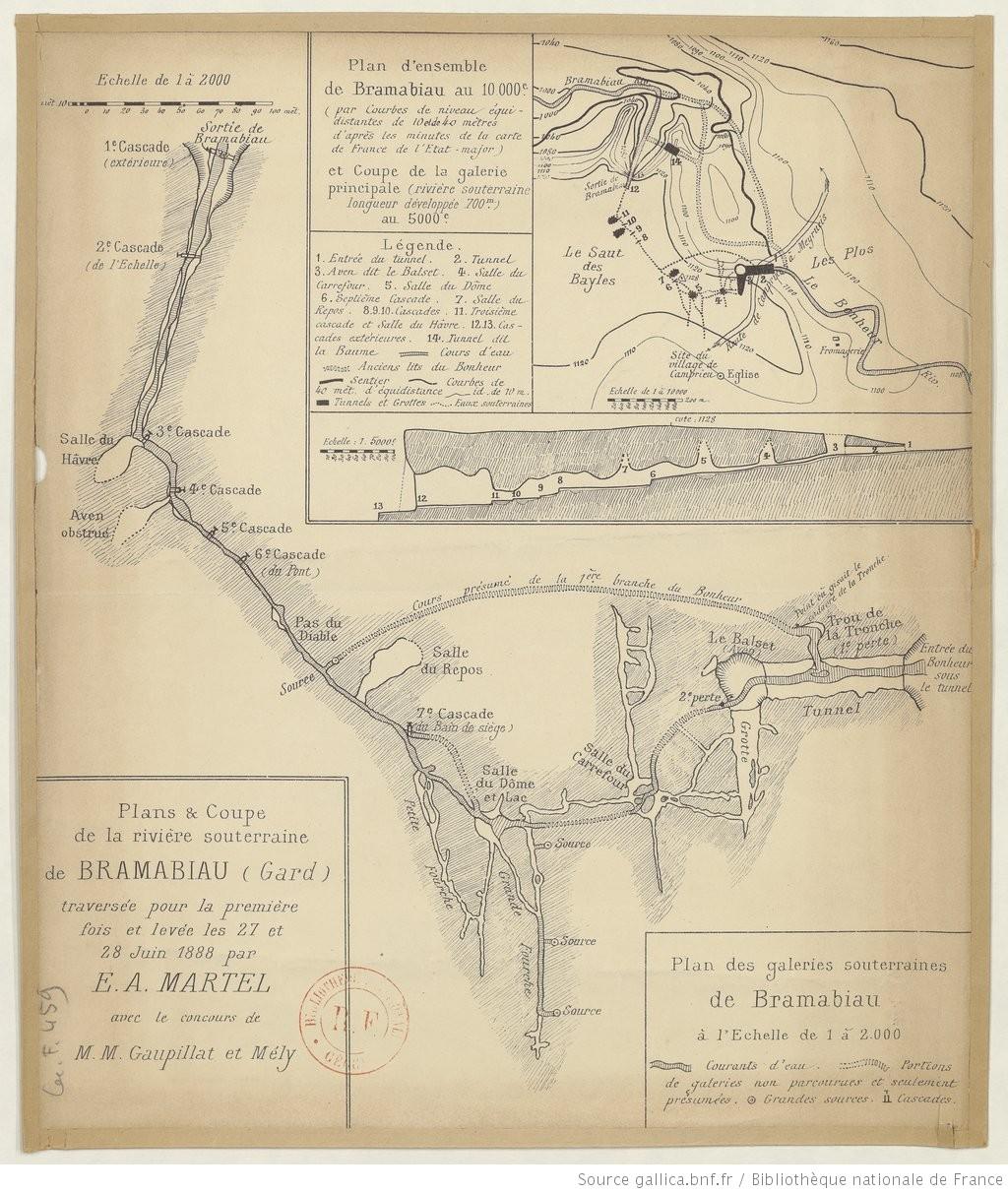 Plan et coupe de la rivière souterraine de Bramabiau levés par E.A. Martel le 27 et 28 juin 1888.