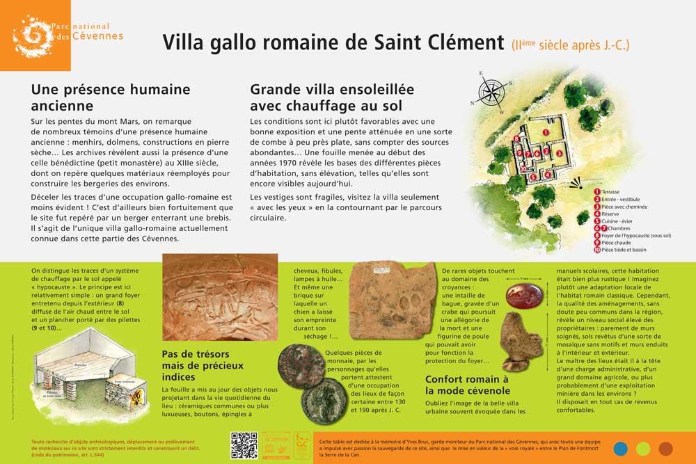 Panneau explicatif du site de la villa gallo-romaine de Saint-Clément