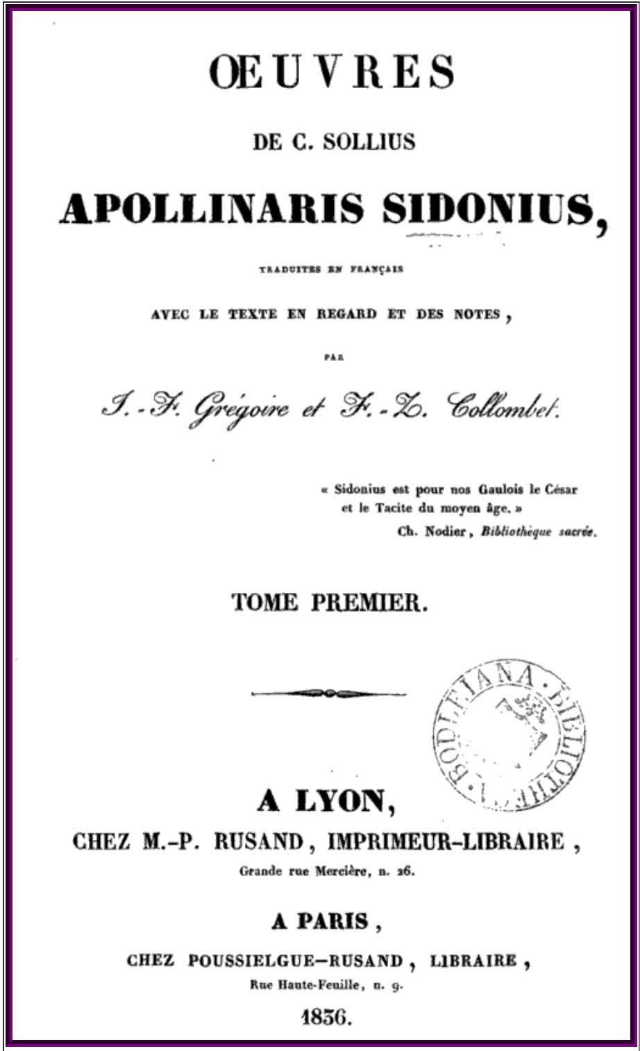 Les œuvres de Sidoine Apollinaire