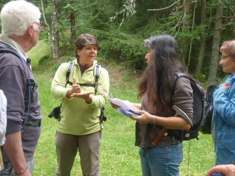 Discussion sur les liens entre la forêt et la géologie (photo Georges Mattia)